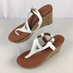 Lucky Brand Wedge Slingback Thong Sandals 9.5 M